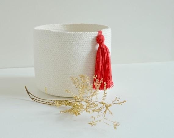 Cotton pot,  Cotton planter, Organisation basket, Wedding anniversary gift, White and red décor, Plant pot, Toy basket , Yarn basket