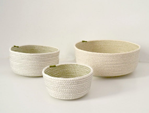 Beach decor basket, Boho basket decor, Small rope baskets, Jewellery organiser, Fruit basket Natural cotton rope, Olive green and grey, Rope