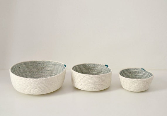 Cotton bowls, Coil rope baskets, Rope bowls, Scandinavian decor, Stylish simple decor, Cotton housewares, Baskets and bowls, Rope baskets