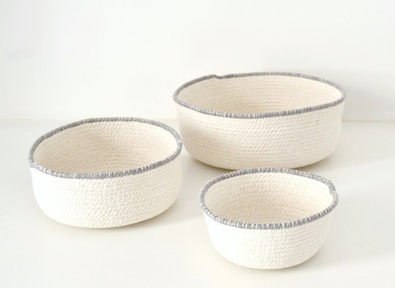 Scandinavian baskets, Basket cotton, Rope bowl, Natural home decor, Mediterranean decor, Natural cotton rope, Set of bowls, White and grey