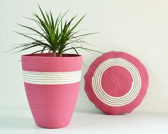 Pink basket, Spring home decor, Large basket, Girls bedroom, Storage basket, baby shower basket, Tribal decor, Colourful basket