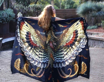 Wings Shawl, Beach Pareo, Digital Printed Shawl, Halloween Shaw, Festival Wrap, Women Printed Shawl, Silk Shawl, Shawl Cover Up, Stay Home