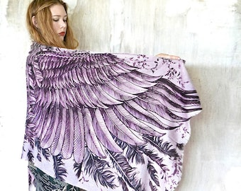 Bohemian Scarf, Angel Wings Scarf, Cover Up, White Scarf, Bridal Scarf, Women Scarf, Festival Wrap Wings Shawl, Women Shawl, Halloween Scarf