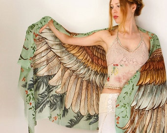 Silk Scarf, Wings Scarf, Bohemian Clothing, Wedding Gift, Printed Shawl, Gift For Her, Sarong Wrap, Women Scarf, Feather Wing, Wife Gift