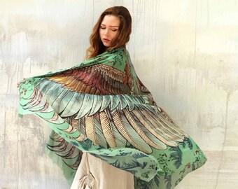 Wings Scarf, Aztec Scarf, Large Green Shawl, Silk Shawl, Wings Scarf, Halloween Scarf, Printed Shawl, Tribal Scarf, Sarong Wrap, Women Scarf