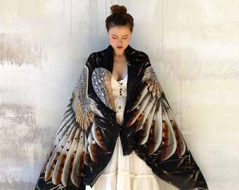 Black Silk Shawl, Owl Shawl, Wing Shawl, Women Sarong, Pareo, Bird Shawl, Wings Shawl Wrap, Owl Shawl Wrap, Halloween Scarf, Owl Bird Scarf