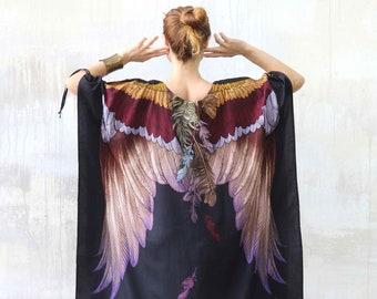 Kimono Dress, Wings Kaftan Dress, Plus Size Clothing, Dress For Women, Printed Dress, Bohemian Dress, Halloween Costume, Lounge Dress