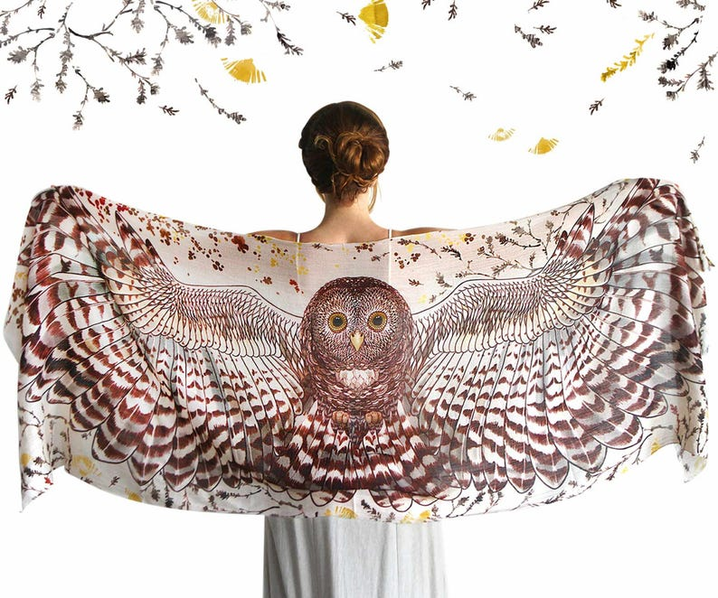 Owl Shawl Women Scarf Hippie Clothes Bird Wings Wedding image 0