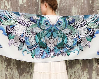 Modal Women scarf, Hand painted Butterflies in Blue Aqua tones, stunning unique and useful, perfect gift