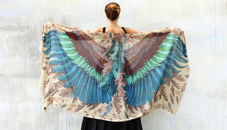 Wings Scarf Festival Shawl Feather Print Shawl Women Gift image 0