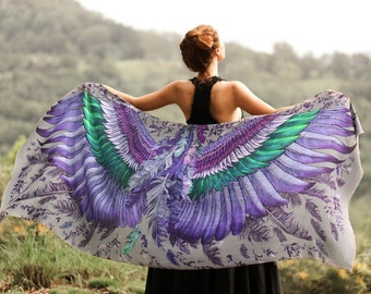 Printed Scarf, Wings Shawl, Calibri Bird Wings Scarf, Diwali Clothes, Silk Scarf, Hand Painted Shawl, Feathers Scarf, The Witcher, Shovava