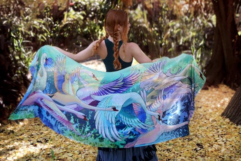Women Scarf Pastel Goth Scarf Bridal Shrug Swans Scarf image 0