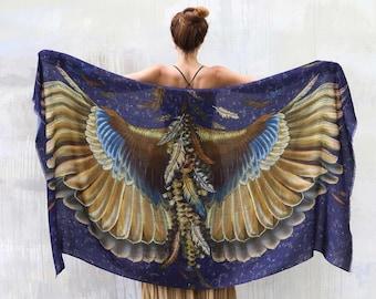Dark Blue Wings Shawl, Feather Print Wrap Scarf, Bohemian Scarf, Halloween Wrap, Women Sarong, Dark Academia, Women Scarf, Pareo Scarf,Pagan