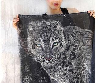 Leopard Scarf, Animal Print Scarf, Art Scarf, Leopard Shawl, Black White Scarf, Halloween Cotton Scarf, Leopard Accessories, Wings Scarf