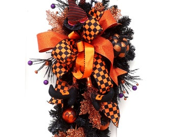 Large orange black Halloween wreath, Witch Wreath swag, Witches Hat Broom and boots, Teardrop Fall Wreath, Pumpkin Swag, Halloween Decor