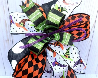 Whimsical Halloween witch hat bow for wreaths, mantle bows, lantern bows, holiday bows, wedding bows, withes decor