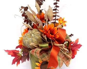 Thanksgiving dining table centerpiece, Fall Sunflowers and Pumpkins, Autumn table decor, Holiday table decorations, Housewarming gift