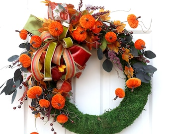 Autumn Wreath, Fall Wreath for front door, Front Porch decor, Farmhouse designs, Thanksgiving, moss wreath. matching bows available