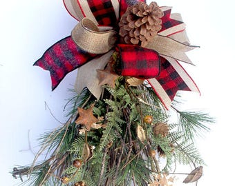 rustic christmas teardrop swag for front door berries and pinecones teardrop home decor plaid bow natural christmas decor