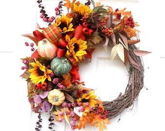 Sunflower fall wreaths for front door, door hanger, fall wall decor fall decorations, Pumpkins and gourds wall decor, porch decorations