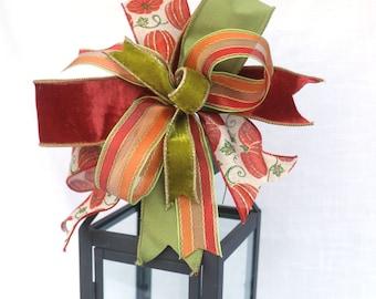 Velvet bows for wreaths, Fall pumpkin bows, Mantle lantern bows for fall decorating, fall wreath bow, Cornstalk decoration bows
