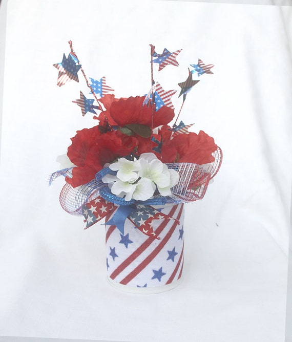 Patriotic floral arrangement july 4th centerpiece summer etsy image 0 mightylinksfo