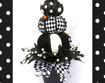 Halloween table arrangement, Stacked Black and white pumpkins, Pumpkin topiary centerpiece, Halloween Party table centerpiece