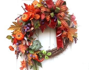 Fall wreaths, wreath for front door, grapevine wreath, door hanger, wall decor, Thanksgiving Wreath, fall decorations, extra large wreath