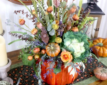 Fall Harvest Arrangement, Thanksgiving dining table centerpiece, Pumpkins, Autumn table decor, Holiday table decorations, Hostess gift