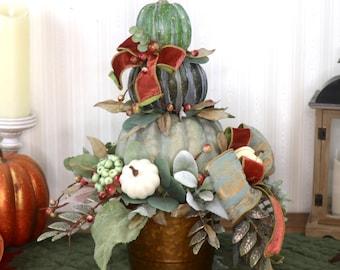Farmhouse Fall arrangement, Stacked Green pumpkins, Pumpkin sitter, Fall centerpiece table decorations, Thanksgiving table centerpiece
