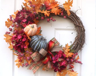 Fall front door wreath, Rustic Fall Decorations, Door hanger, Porch decor, Farmhouse Autumn wreath, Thanksgiving decorations