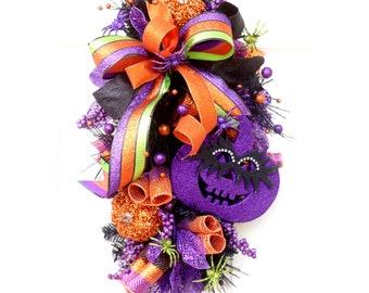 Large Halloween swag, Pumpkin Wreath swag, Festive door hanger, Teardrop Fall Wreath, Pumpkin Swag, Halloween Decor, Orange purple green