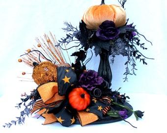 Halloween table centerpiece, halloween decor, halloween party decorations, velvet pumpkins
