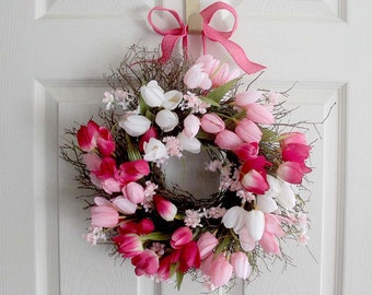 Small Tulip Spring Wreath for front door, Spring Decoration, Spring Wreath, Wedding Wreath, wreathe, Mother's Day gift, pink tulip wreath