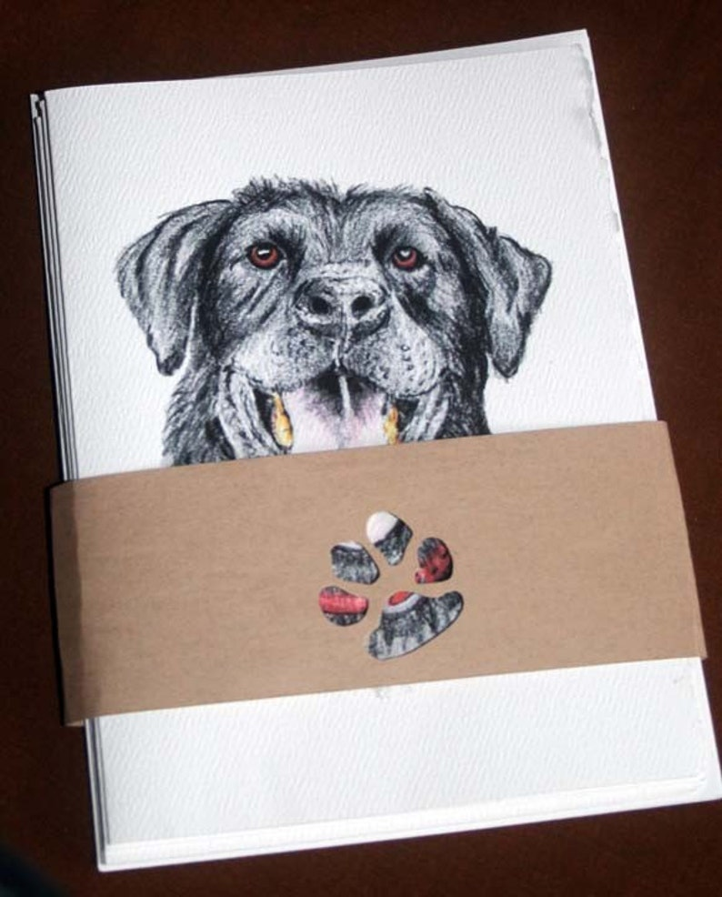 blank card note card set of 4 Hand drawn Black Lab Note card dog card