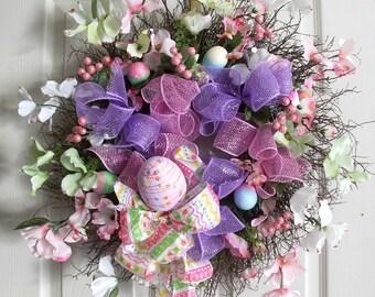 Easter Wreath, Easter Egg Wreath, Spring Wreaths, Easter Decoration, Front door Wreaths, wreath for front door, wreathe,deco mesh