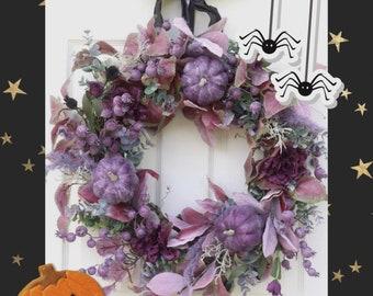 Extra Large Halloween Wreath, Purple and Burgundy Wreath for front door, Halloween Decorations, Door hanger, Boho wreath for mantle, Spooky
