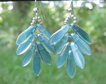 Boho Earrings| Blue Fern Earrings| Blue Leaf Earrings| Blue Fern Dangle Earrings| Gift for Her