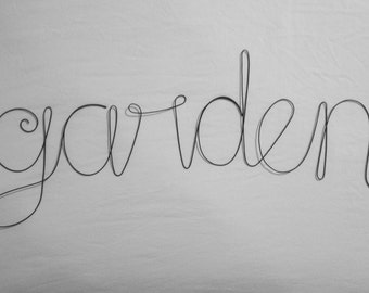 GARDEN Wire Word Wall Hanging Art
