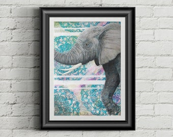Courage - Giclee Fine Art Print of Mixed Media Painting 8x10