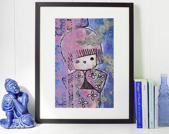 Kokeshi Love - Giclee Fine Art Print Mixed Media Painting