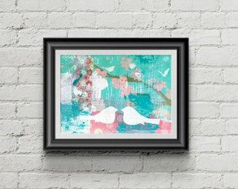 Love Birds - Giclee Fine Art Print Mixed Media Painting