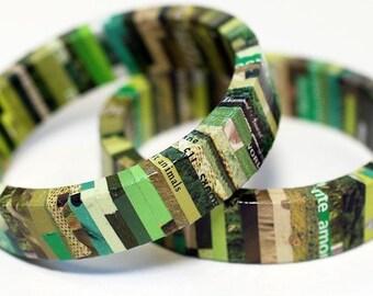 Recycled Magazine Eco Bangle Bracelet - camouflage