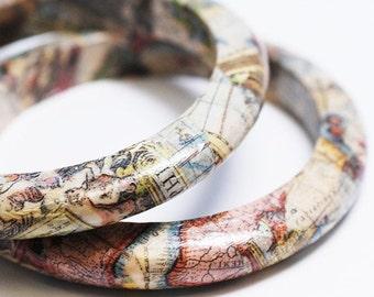 New World Traveler - Wooden Map Bangle Bracelet