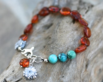Baltic Amber, Turquoise Gemstone, Silver Druzy Crystal, Silk Cord Hand Knotted Bracelet, Gemstone Jewelry, Amber Bracelet, Druzy Bracelet