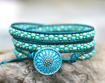 Aqua Blue, Teal, Beaded Triple Leather Wrap Bracelet, 3x Wrap, Beaded Triple Leather Wrap Bracelet,Boho Wrap Bracelet,Leather Wrap Bracelet,