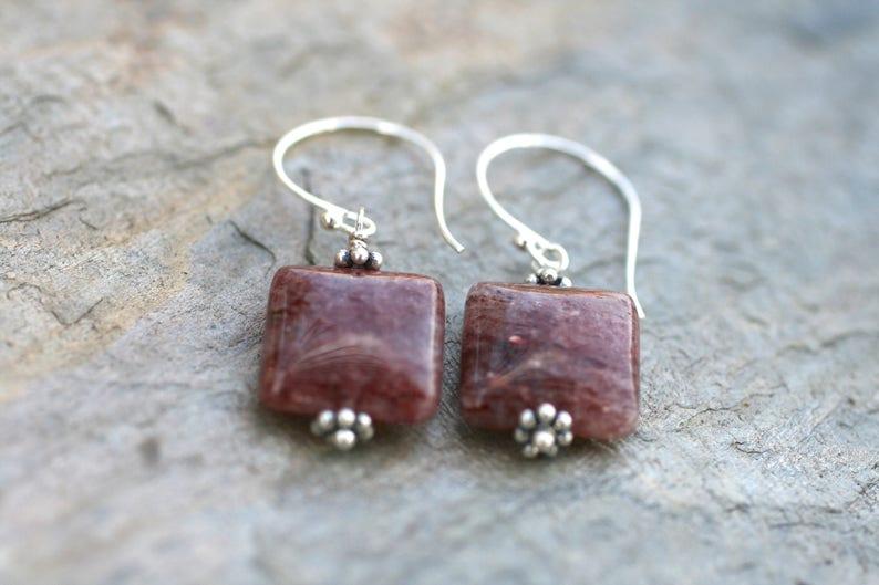 Square Lepidolite Gemstone Earrings Lepidolite and Sterling Silver Earrings Minimalist Earrings Square Earrings Geometric Jewelry