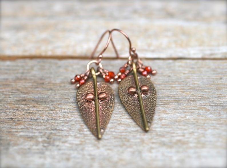 Autumn Earrings Fall Jewelry Carnelian Gemstone Carnelian Jewelry Copper 14KT Rose Gold Filled Earrings Carnelian Earrings Brass Leaf