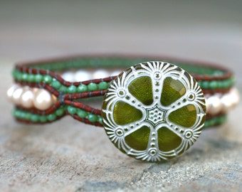 White Freshwater Pearl and Olive Green Crystal Leather Wrap, Cuff Handmade Bracelet, Leather Wrap Cuff Bracelet, Boho Wrap Bracelet