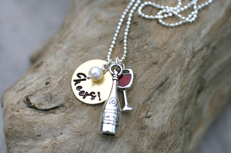 043ac6858ace8 Wine Lovers Necklace, Red Wine, Personalized Cheers, Stamped Metal Charm  Necklace, Wine Bottle, Red Wine Glass Charm Necklace, I Love Wine